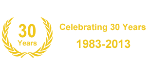 Graphic showing crest and celebrating 30 years of business 1983-2013